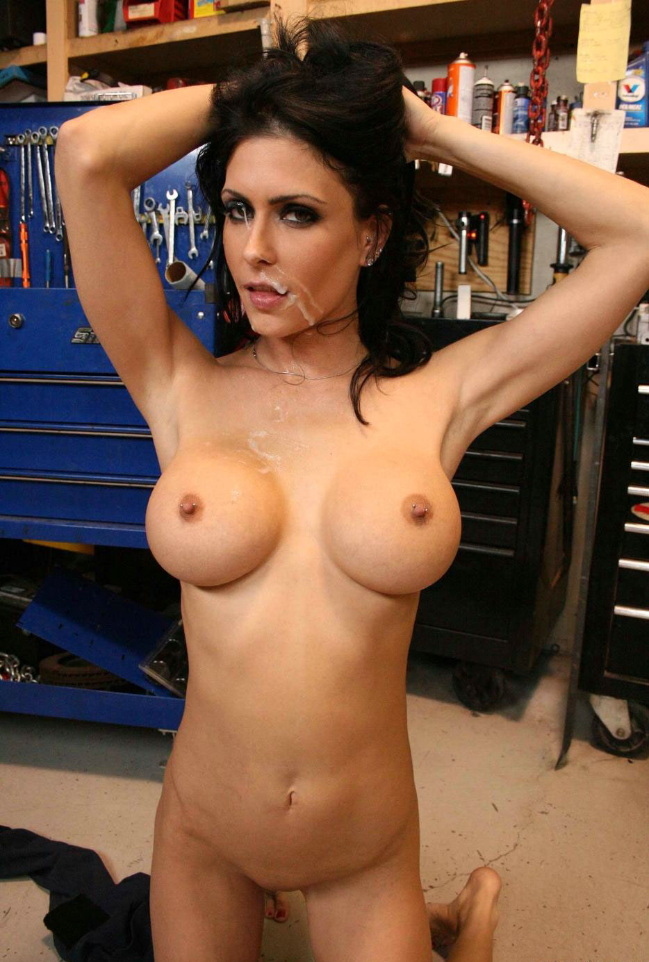 Busty pierced and tattooed ebony goddess playing with clit 6
